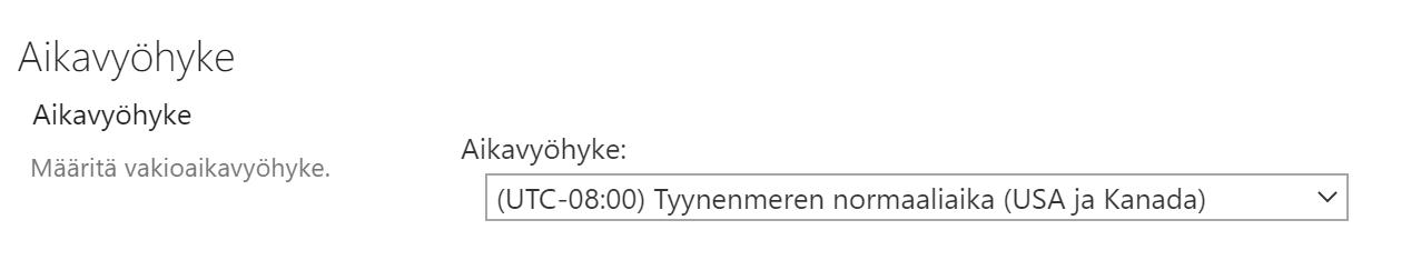 Aikavyöhyke vaihdetaan Amerikasta Suomen Helsinkiin.